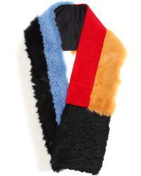 CALVIN KLEIN 205W39NYC - Color-blocked Lamb Fur Scarf - Lyst
