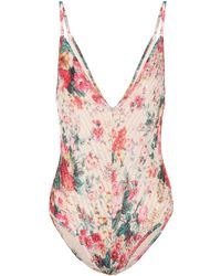 Zimmermann - Laelia Floral Pintuck Swimsuit - Lyst