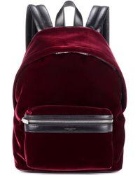 Saint Laurent - Velvet And Leather Backpack - Lyst