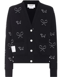 Thom Browne | Embroidered Cotton Cardigan | Lyst