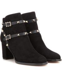 Valentino - Garavani Rockstud Suede Ankle Boots - Lyst
