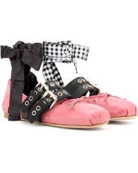 Miu Miu - Buckle-embellished Patent Leather Ballerinas - Lyst