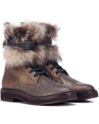 608144beab2 Brunello Cucinelli - Fur-trimmed Ankle Boots - Lyst