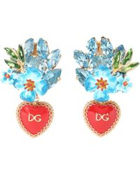 Dolce & Gabbana - Crystal And Brass Clip-on Earrings - Lyst