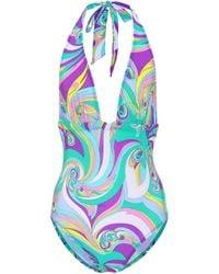 Emilio Pucci - Printed Halter Swimsuit - Lyst