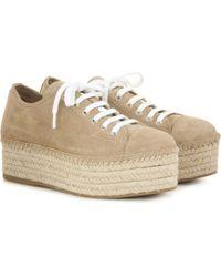 Miu Miu - Plateau-Espadrille-Sneakers aus Veloursleder - Lyst