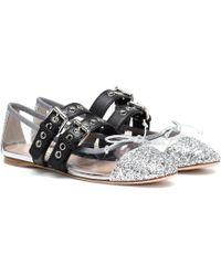 Miu Miu - Glitter Ballet Flats - Lyst