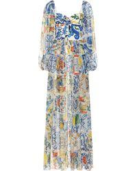 Dolce & Gabbana - Majolica Silk-blend Chiffon Gown - Lyst