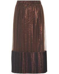 Brunello Cucinelli - Falda plisada a media pierna metalizada - Lyst