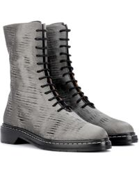 The Row - Fara Distressed Satin Ankle Boots - Lyst