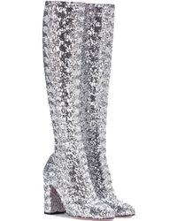 Dolce & Gabbana - Glitter Knee-high Boots - Lyst