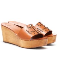 Tory Burch - Ines 80mm Leather Wedge Sandals - Lyst