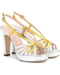 6657dfe83f4 Gucci - Metallic Leather Plateau Sandals - Lyst