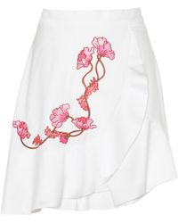 Carven - Embroidered Cotton Skirt - Lyst