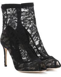 Dolce & Gabbana - Peeptoe Ankle Boots aus Spitze - Lyst