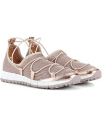 Jimmy Choo - Trainers Slip-on Andrea Fabric Metallic Mesh Rose Leather Rose - Lyst