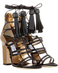97263fbe3fe6 Jimmy Choo - Diamond 100 Satin And Leather Sandals - Lyst