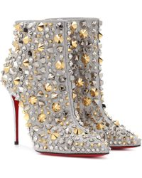 Christian Louboutin - So Full Kate 100 Embellished Glittered Leather Ankle Boots - Lyst