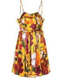 ced6f9abfd9d Lyst - Balenciaga Floral-printed Jacquard Mini Dress in Yellow