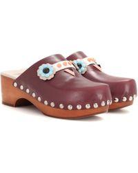 Fendi - Embellished Leather Clogs - Lyst