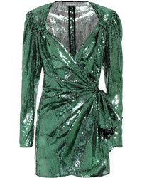 Attico - Sequined Tulle Wrap Dress - Lyst