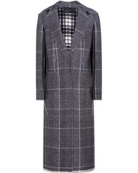 CALVIN KLEIN 205W39NYC - Janca Plaid Leather-trimmed Wool Coat - Lyst