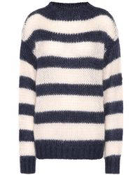 Prada - Striped Wool And Mohair-blend Sweater - Lyst