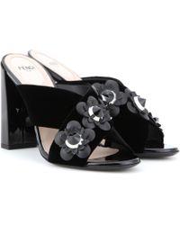 Fendi | Embellished Velvet Sandals | Lyst