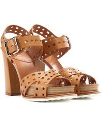 Tod's - Leather Plateau Sandals - Lyst