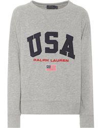 84c082b2d4ea Polo Ralph Lauren Cropped Fleece Sweatshirt in White - Lyst