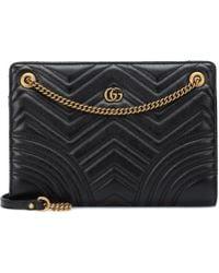 5e54ac9b4d47 Lyst - Gucci GG Marmont Large Shoulder Bag in Black