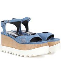 Stella McCartney - Elyse Platform Denim Sandals - Lyst