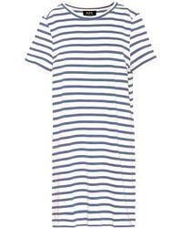 A.P.C. - Striped Cotton T-shirt Dress - Lyst