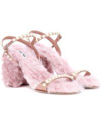Miu Miu - Faux Fur-trimmed Satin Sandals - Lyst