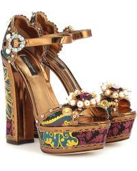Dolce & Gabbana - Keira Embellished Platform Sandals - Lyst