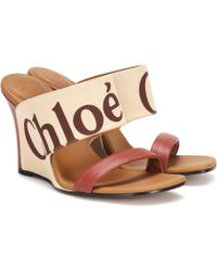 Chloé - Canvas And Leather Wedges - Lyst