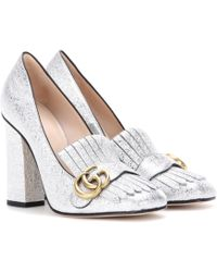Gucci - Metallic Leather Loafer Court Shoes - Lyst