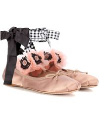 Miu Miu - Embellished Satin Ballerinas - Lyst