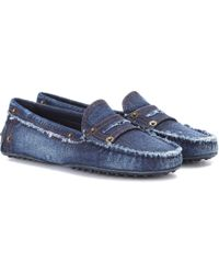 Tod's - Gommino Denim Loafers - Lyst