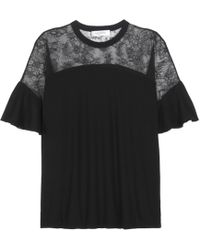 Valentino - Wool And Lace Top - Lyst
