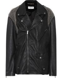 Saint Laurent - Embellished Leather Biker Jacket - Lyst
