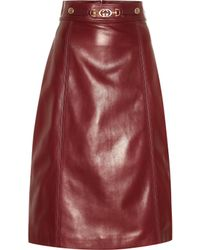 Gucci - Embellished Leather Midi Skirt - Lyst