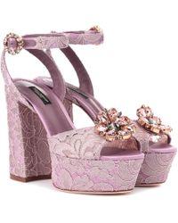 Dolce & Gabbana - Keira Embellished Lace Sandals - Lyst