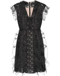 Giambattista Valli - Silk And Lace Minidress - Lyst