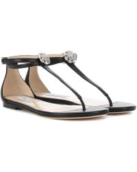 f4d75aa9e1d1 Jimmy Choo - Afia Flat Leather Sandals - Lyst