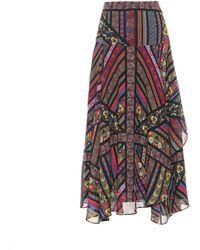 Etro - Printed Silk Crêpe Skirt - Lyst