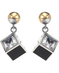 Bottega Veneta - Sterling Silver Earrings With Cubic Zirconia - Lyst