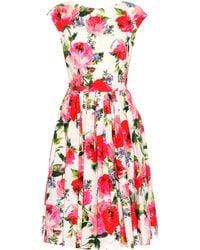 3312156f Dolce & Gabbana - Floral-printed Cotton Dress - Lyst