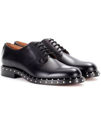 Valentino - Embellished Leather Derby Shoes - Lyst