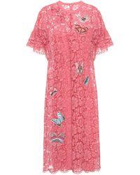 Valentino - Embellished Lace Dress - Lyst